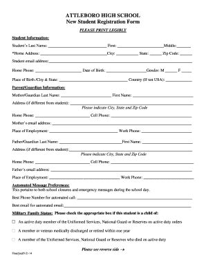 High School Registration Form Template by Student Registration Form Printable Fill
