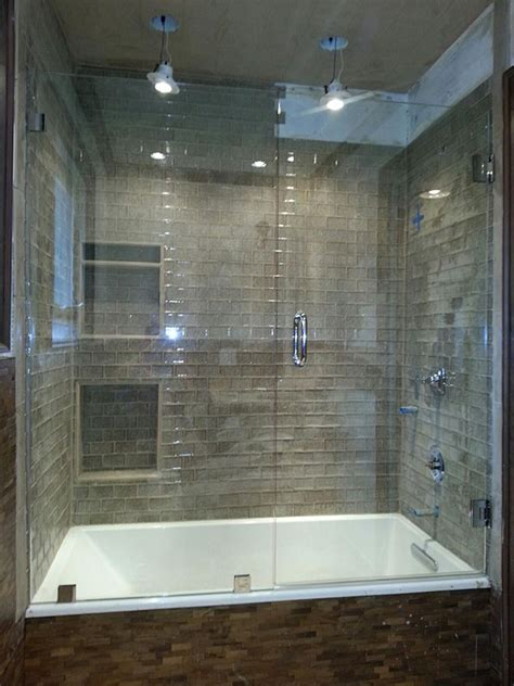 bathtub with glass enclosure frameless glass shower and tub enclosure near atlanta