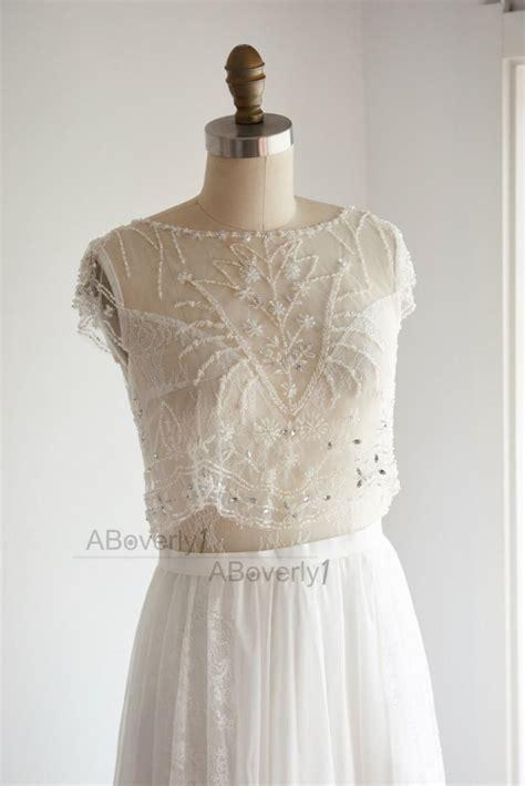 beaded back wedding dress boho sheer illusion see through v back beaded lace