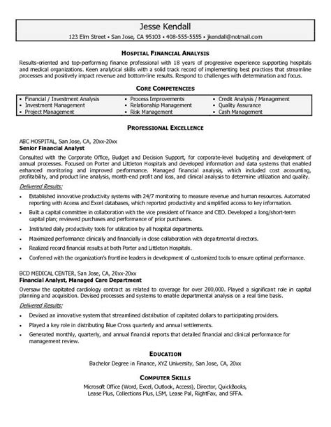financial analyst objective statement financial analyst resume sle financial analyst resumes