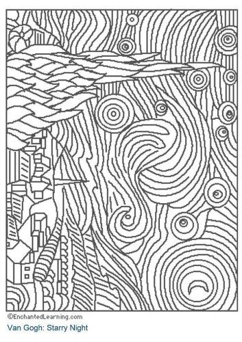 starry night coloring page art van gogh pinterest
