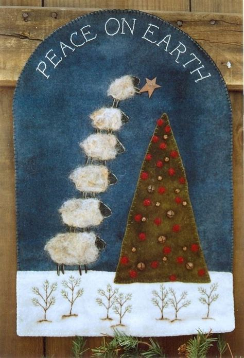 peace trees rug primitive wool rug pattern peace on earth sheep tree new trees