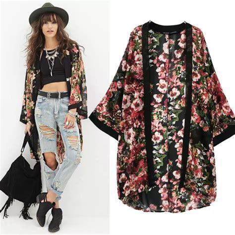 sale flowers black kimono cardigan fashion sleeve blouse hip hop camisa