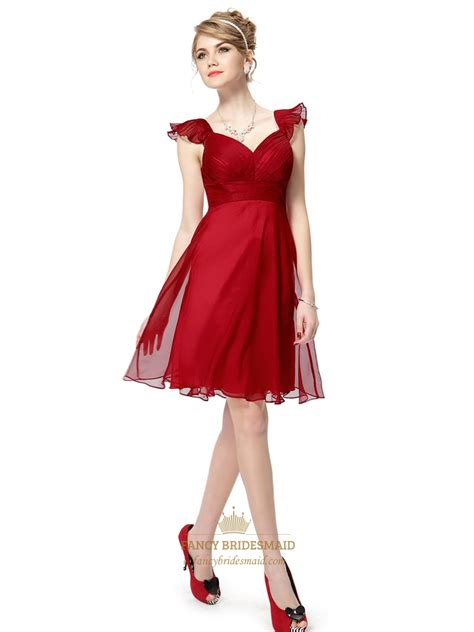 red chiffon knee length bridesmaid dresses  flutter