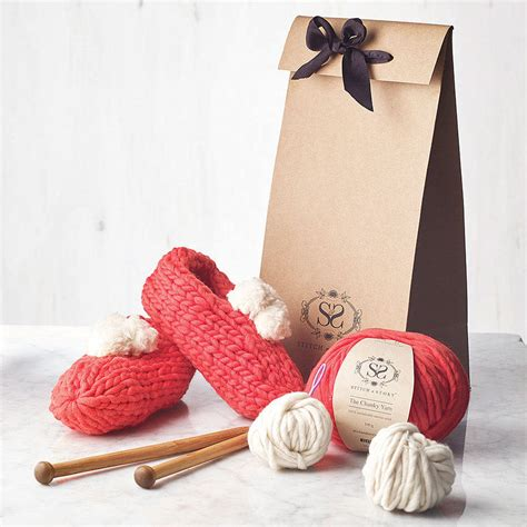 knitting kits for beginners make your own beginner pompom slippers knitting kit by