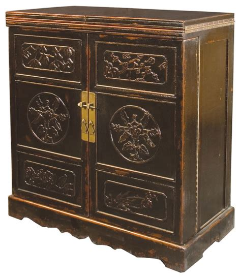 Furniture Wine Bar Cabinet Lhasa Wine Cabinet Bar Crackle Black Asian Wine And Bar Cabinets By Marco Polo Imports