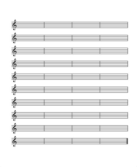 Free Printable Staff Paper With Bar Lines | printable staff paper 6 pdf documents download free
