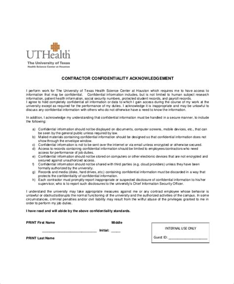 Business Agreement Acknowledgement Letter 13 Contractor Confidentiality Agreement Templates Free Sle Exle Format Free