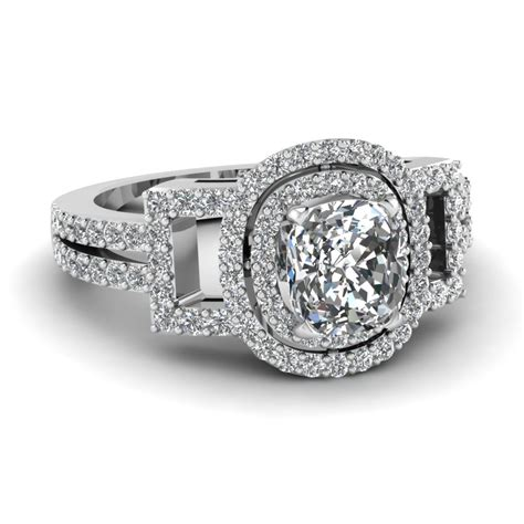 cushion cut engagement ring in 14k white gold