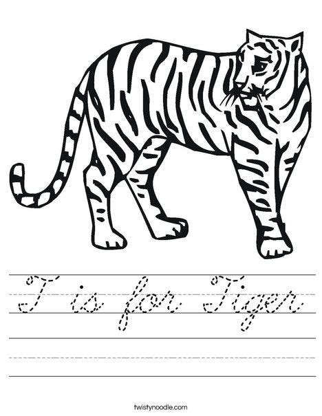 T Is For Tiger Coloring Page