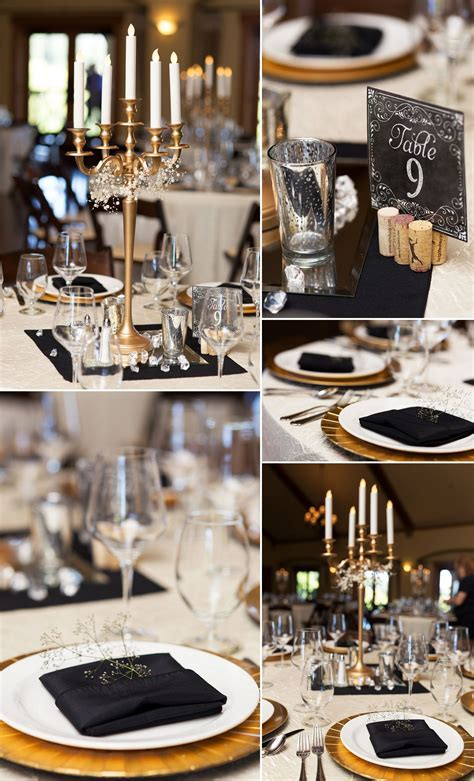 Black, white, gold elegant table decor for a wedding