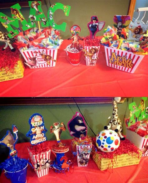 themes of colin s story centerpieces diy madagascar3 circus party afro