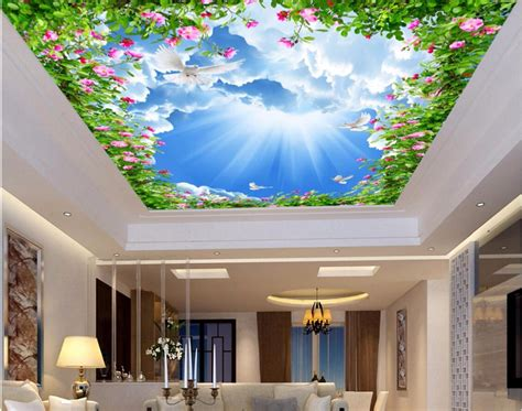 3d Wallpaper Ceiling 13314964 1 custom 3d ceiling murals wallpaper home decor painting sun white clouds of flowers 3d wall