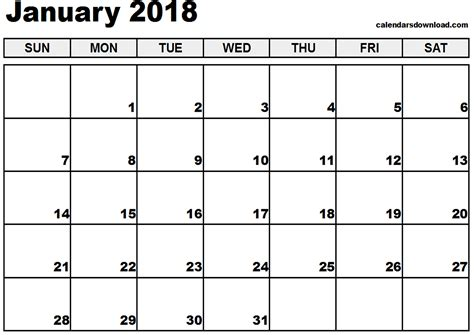 printable daily calendar january 2018 january 2018 calendar
