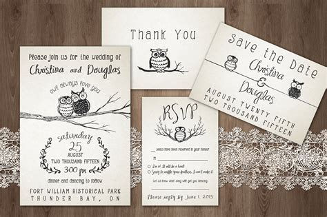owl always you wedding pack invitation templates on creative market