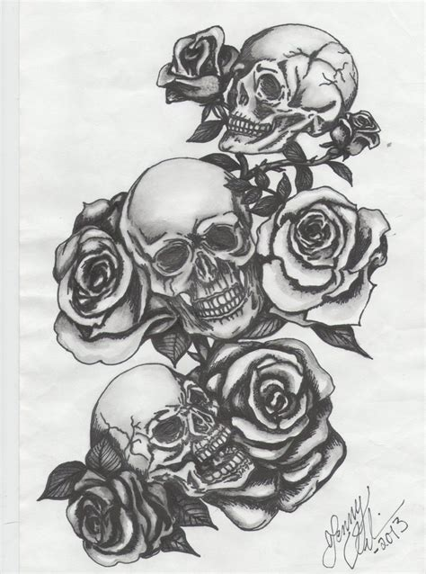 three skulls with roses by jenny blue on deviantart