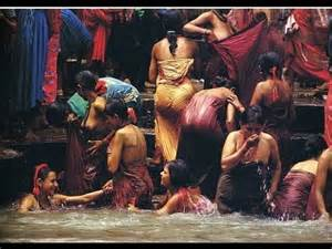 women bath in holy river allahabad youtube