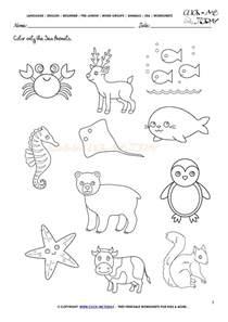 sea animals worksheet activity sheet color 1