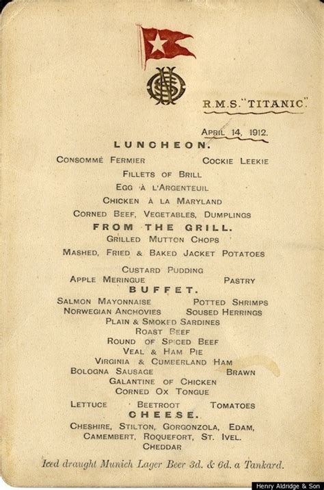 Titanic First Class Menu | titanic menu first class second class auction of last