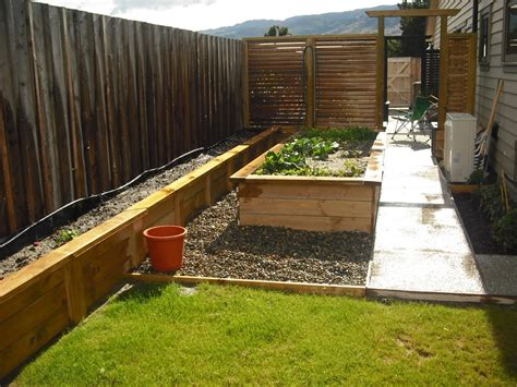raised garden bed with fence potatoes along the fence raised vegie bed in the middle