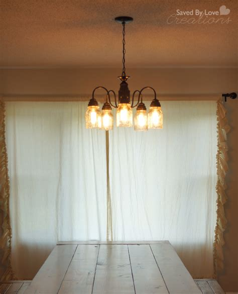 spray paint mason jar chandelier update