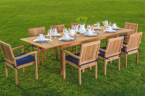 Teak Outdoor Dining Chairs Wholesaleteak 9 Grade A Teak Outdoor Dining Set With 94 Quot Table And 8 Stackable Chairs
