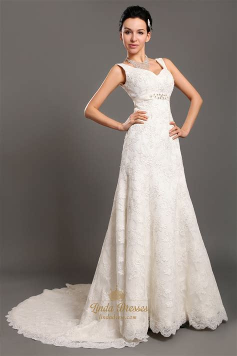 Empire Of Ivory ivory v neck empire waist lace a line wedding dresses with