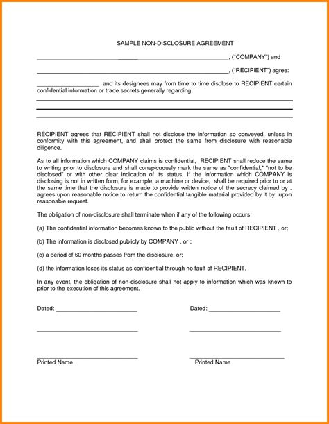 Non Disclosure Agreement Letter Sle Non Disclosure Statement Template 100 Images 10 Confidentiality Statement Sle For