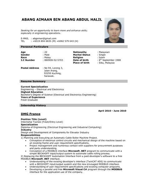 sle of resume for abroad format of resume for