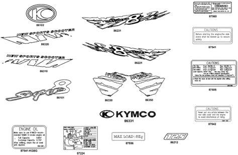 Aufkleber Kymco Roller by Kymco Super 8 125 Aufkleber Hinweis Schilder Ersatzteile