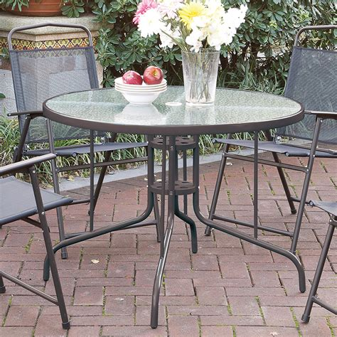 Glass Top Outdoor Dining Table Patio Outdoor Garden Yard Dining Table Frosted Glass Top Steel Frame