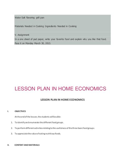 home ec lesson plans sle detailed lesson plan in home economics home plan