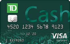 Td Bank Visa Gift Card Fee - no annual fee dining rewards card td cash visa credit card