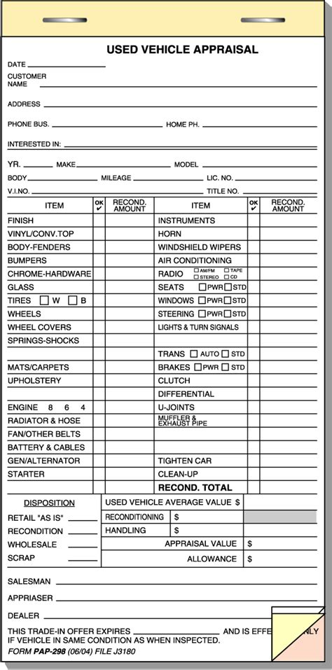 vehicle appraisal template used car appraisal form pictures to pin on