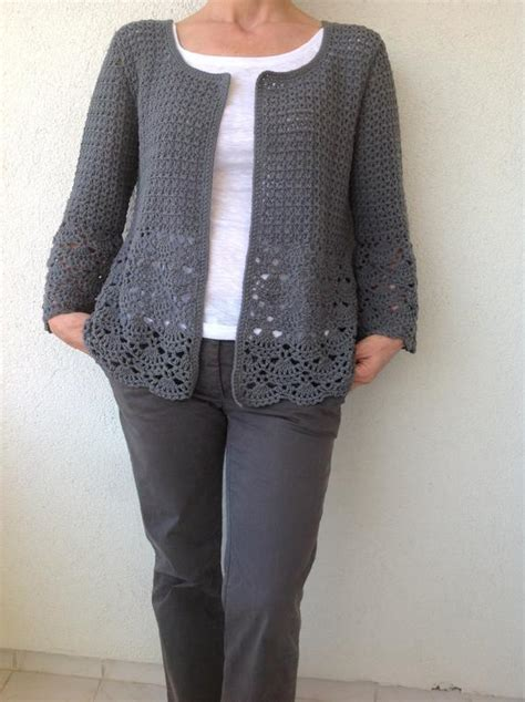 crochet cardigan crochet cardigan gray crochet jacked crochet cotton