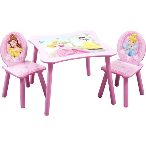 kids desk and chair set delta children princess girls play study 3pc pink