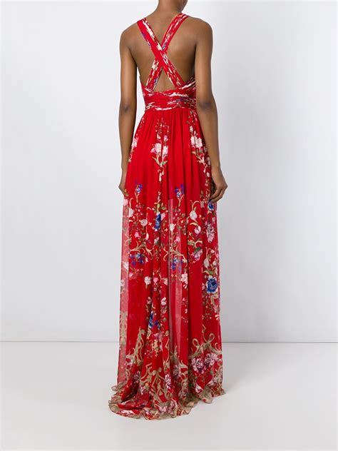 Longdress Print roberto cavalli floral print dress in lyst