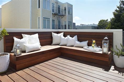 l shaped benches l shaped plank bench transitional deck patio