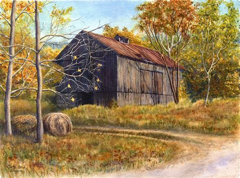 barn landscape painting print watercolor by cathy hillegas