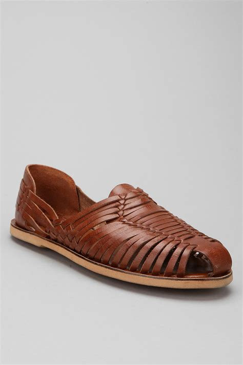 huarachi sandals lyst outfitters huarache leather sandals in brown