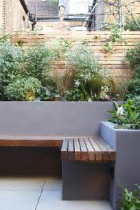 garden seating rendered wall fence garden ideas