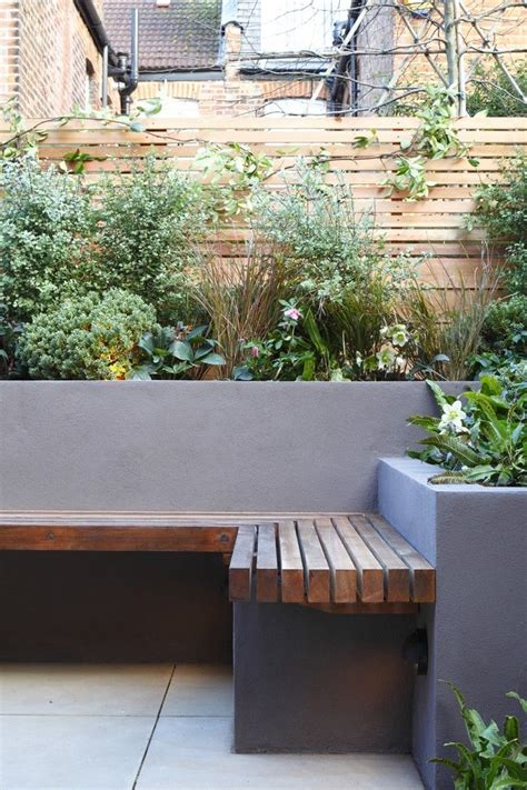 backyard bench seating garden seating rendered wall fence garden ideas