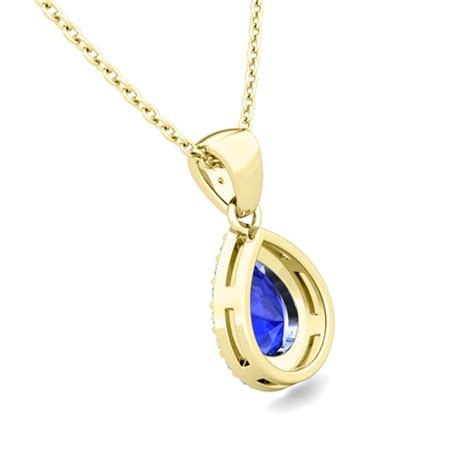 halo and pear ceylon sapphire necklace 14k gold