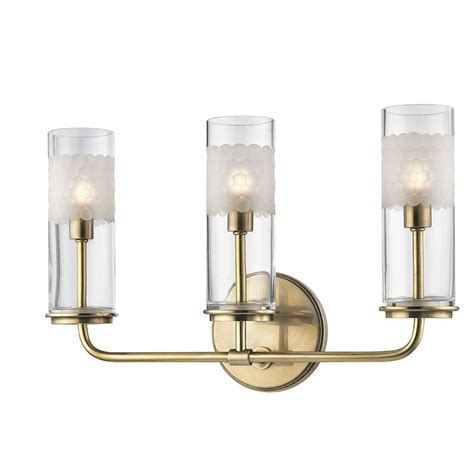 brass bathroom sconce hudson valley 3903 agb wentworth aged brass xenon 3 light
