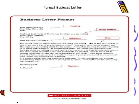 Business Letter Format Grade 9 Letter Writing