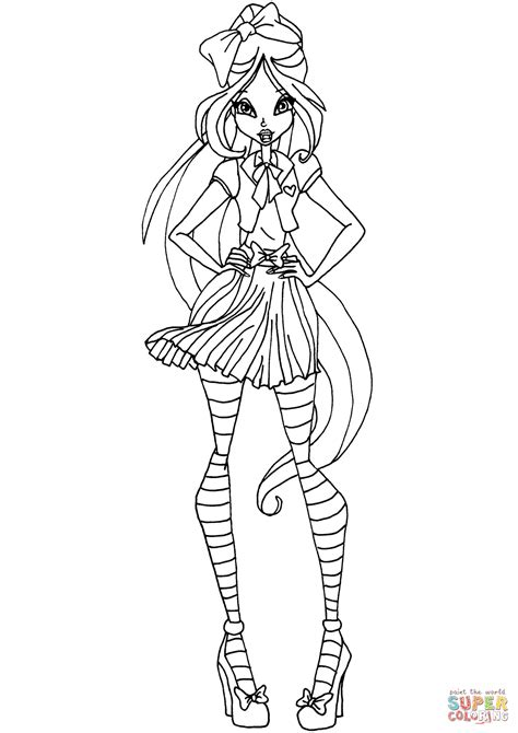 Winx Club Flora School Coloring Page Free Printable Drawing Colour Games L