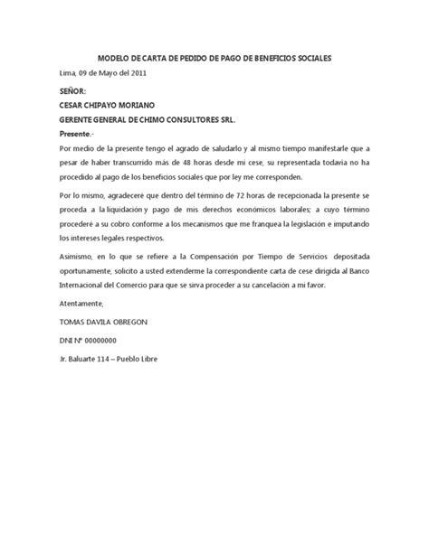 carta de finiquito modelo de carta de pedido de pago de beneficios sociales