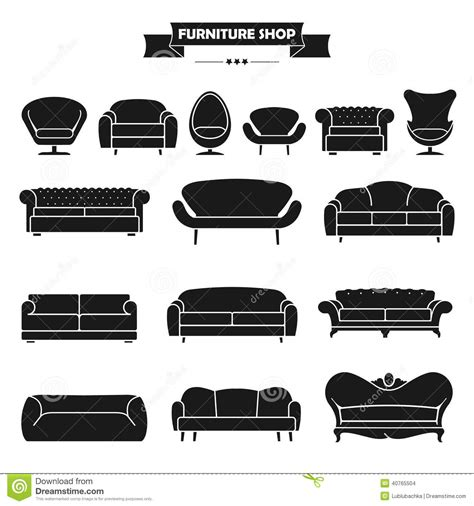 Loft Living Room luxury modern sofa and couch icons set vintage fu stock