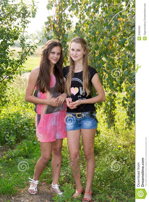 Floor Plan For Classroom by Two Teenage Girls Near A Birch Royalty Free Stock Photo