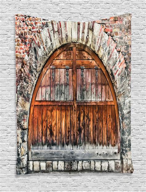 Door Tapestry by Rustic Brick Archway With Wooden Antique Door Image